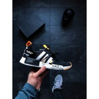 Кроссовки Off-White x adidas NMD R1 PK Primeknit Black White Orange.