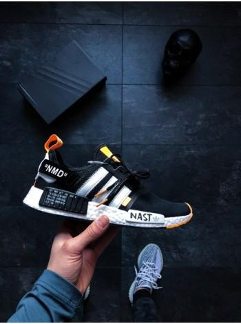 Кроссовки Off-White x adidas NMD R1 PK Primeknit Black White Orange.