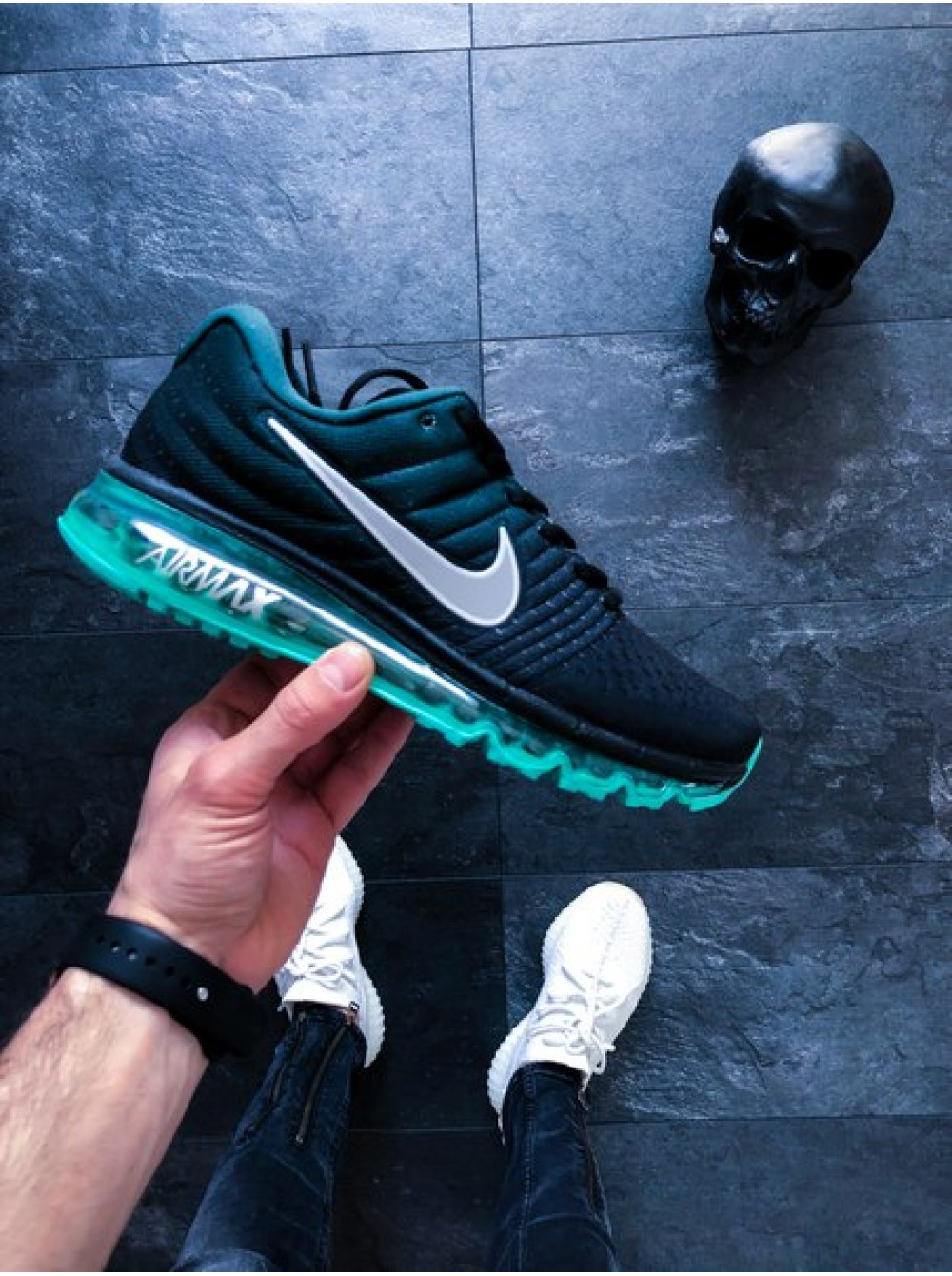 573cca20 Кроссовки Nike Air Max 2017 (Black/White - Green Stone - White)